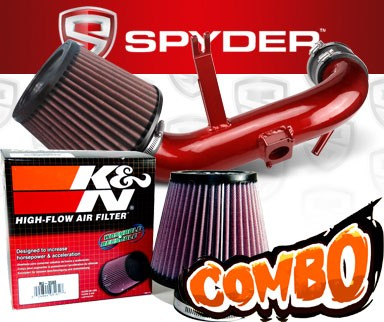 K&N® Air Filter + Spyder® Cold Air Intake System (Red) - 09-15 Mitsubishi Lancer 2.4L 4cyl Non-Turbo (AUTOMATIC TRANSMISSION ONLY)