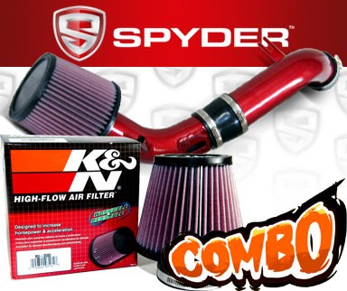 K&N® Air Filter + Spyder® Cold Air Intake System (Red) - 10-12 Ford Fusion 2.5L 4cyl