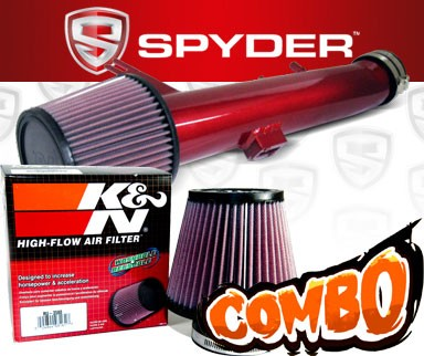 K&N® Air Filter + Spyder® Cold Air Intake System (Red) - 11-14 Ford Mustang 3.7L V6