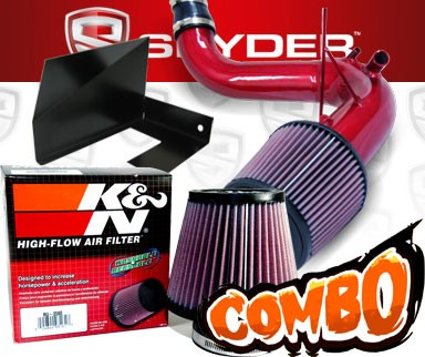 K&N® Air Filter + Spyder® Cold Air Intake System (Red) - 11-14 Hyundai Sonata Turbo 2.0L 4cyl