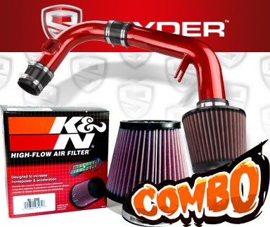K&N® Air Filter + Spyder® Cold Air Intake System (Red) - 11-15 Chevy Cruze Non-Turbo 1.8L 4cyl (Exc. models with secondary air pump)
