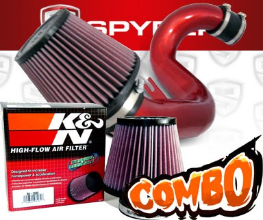 K&N® Air Filter + Spyder® Cold Air Intake System (Red) - 11-15 Kia Optima 2.4L 4cyl