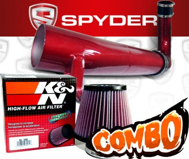 K&N® Air Filter + Spyder® Cold Air Intake System (Red) - 11-16 Dodge Challenger 3.6L V6
