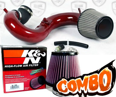 K&N® Air Filter + Spyder® Cold Air Intake System (Red) - 12-14 Honda Civic Si 2.4L 4cyl
