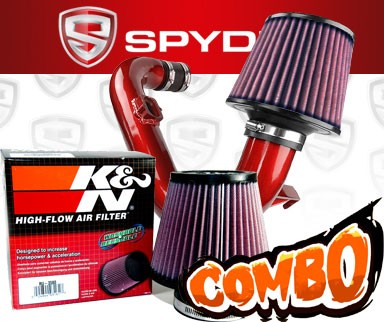 K&N® Air Filter + Spyder® Cold Air Intake System (Red) - 12-15 Chevy Sonic 1.4L Turbo 4cyl