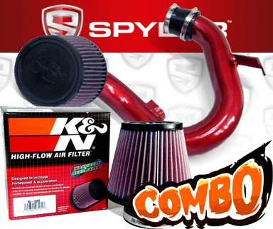 K&N® Air Filter + Spyder® Cold Air Intake System (Red) - 12-15 Chevy Sonic 1.8L 4cyl