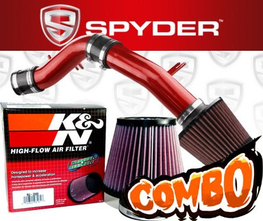 K&N® Air Filter + Spyder® Cold Air Intake System (Red) - 12-16 Hyundai Accent 1.6L 4cyl