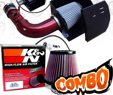 K&N® Air Filter + Spyder® Cold Air Intake System (Red) - 13-16 Subaru BRZ 2.0L 4cyl