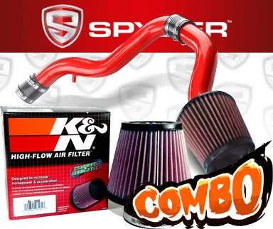 K&N® Air Filter + Spyder® Cold Air Intake System (Red) - 88-91 Honda CRX 1.6L 4cyl