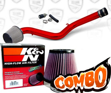 K&N® Air Filter + Spyder® Cold Air Intake System (Red) - 90-93 Honda Accord 2.2L  4cyl