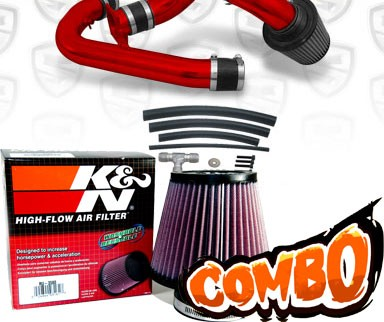 K&N® Air Filter + Spyder® Cold Air Intake System (Red) - 91-94 Nissan 240SX 16V 2.4L 4cyl