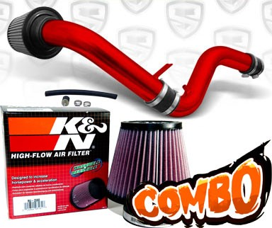 K&N® Air Filter + Spyder® Cold Air Intake System (Red) - 92-96 Honda Prelude 2.2L/2.3L 4cyl