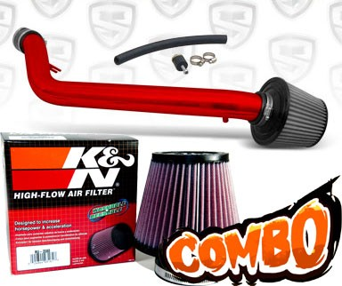 K&N® Air Filter + Spyder® Cold Air Intake System (Red) - 93-97 Honda Del Sol SOHC 1.5L/1.6L 4cyl
