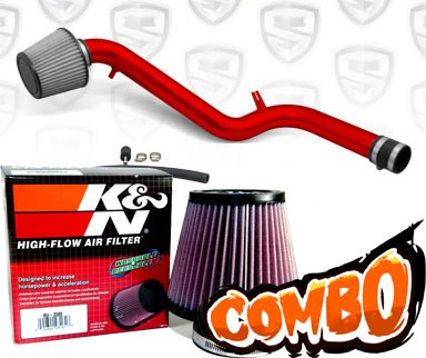 K&N® Air Filter + Spyder® Cold Air Intake System (Red) - 94-97 Honda Accord 2.2L  4cyl