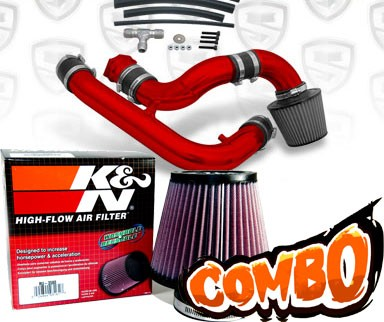 K&N® Air Filter + Spyder® Cold Air Intake System (Red) - 95-96 Nissan 240SX 2.4L 4cyl