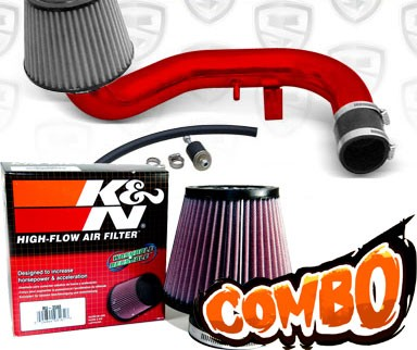 K&N® Air Filter + Spyder® Cold Air Intake System (Red) - 95-99 Dodge Neon DOHC 2.0L 4cyl