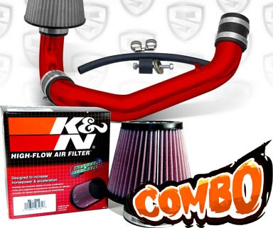 K&N® Air Filter + Spyder® Cold Air Intake System (Red) - 95-99 Dodge Neon SOHC 2.0L 4cyl