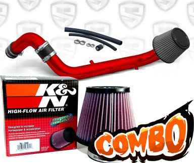 K&N® Air Filter + Spyder® Cold Air Intake System (Red) - 95-99 Mitsubishi Eclipse Non-Turbo 2.0L 4cyl