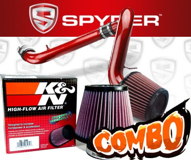 K&N® Air Filter + Spyder® Cold Air Intake System (Red) - 95-99 Saturn S-Series 1.9L 4cyl SOHC (MT)