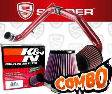K&N® Air Filter + Spyder® Cold Air Intake System (Red) - 96-00 Honda Civic CX/DX/LX 1.6L 4cyl