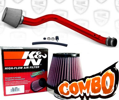 K&N® Air Filter + Spyder® Cold Air Intake System (Red) - 96-98 Honda Civic EX 1.6L 4cyl
