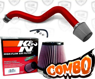 K&N® Air Filter + Spyder® Cold Air Intake System (Red) - 97-01 Honda Prelude 2.2L  4cyl
