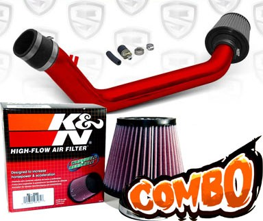 K&N® Air Filter + Spyder® Cold Air Intake System (Red) - 99-00 Honda Civic SI DOHC 1.6L 4cyl