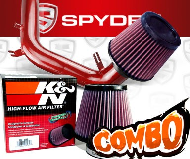 K&N® Air Filter + Spyder® Cold Air Intake System (Red) - 99-05 VW Volkswagen Golf IV 2.0L SOHC