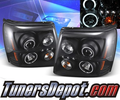 KS® CCFL Halo LED Projector Headlights (Black) - 02-06 Cadillac Escalade (w/ OEM HID Only)
