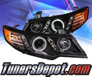 KS® CCFL Halo LED Projector Headlights (Black) - 10-12 Kia Forte