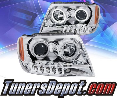KS® CCFL Halo LED Projector Headlights (Chrome) - 99-04 Jeep Grand Cherokee