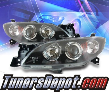 KS® CCFL Halo Projector Headlights (Black) - 04-07 Mazda 3 Sedan