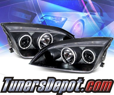 KS® CCFL Halo Projector Headlights (Black) - 05-07 Ford Focus ZX4 4dr.