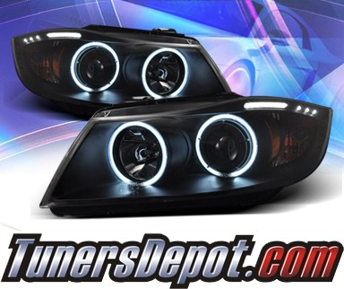 KS® CCFL Halo Projector Headlights (Black) - 06-08 BMW 328i 4dr E90/E91