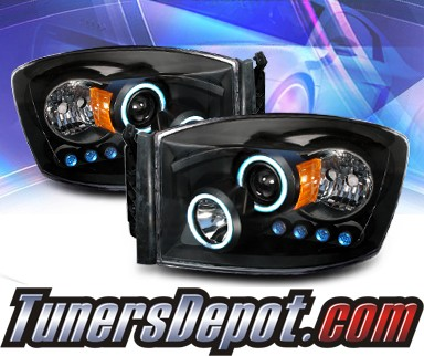 KS® CCFL Halo Projector Headlights (Black) - 06-08 Dodge Ram Pickup