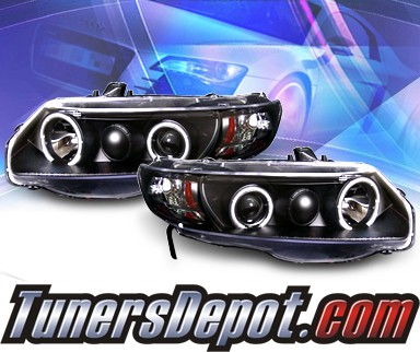KS® CCFL Halo Projector Headlights (Black) - 06-11 Honda Civic 2dr.