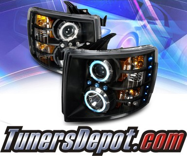 KS® CCFL Halo Projector Headlights (Black) - 07-13 Chevy Silverado