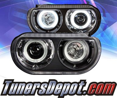 KS® CCFL Halo Projector Headlights (Black) - 08-13 Dodge Challenger with stock HID