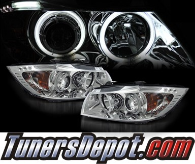 KS® CCFL Halo Projector Headlights (Chrome) - 06-08 BMW 328i 4dr E90/E91