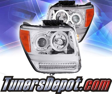 KS® CCFL Halo Projector Headlights (Chrome) - 07-11 Dodge Nitro (w/LED Bumper Lights)