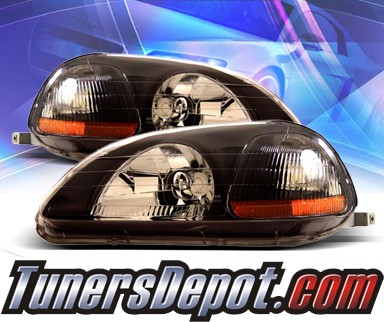 KS® Crystal Headlights (Black) - 96-98 Honda Civic 2/3/4dr.