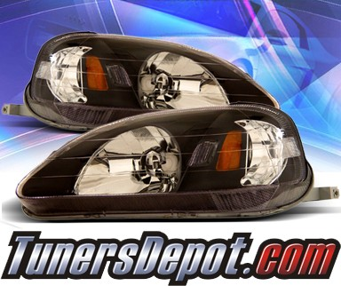 KS® Crystal Headlights (Black) - 99-00 Honda Civic 2/3/4dr.