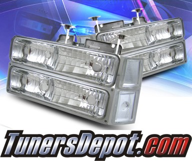KS® Crystal Headlights + Corner + Parking Light Set - 94-99 Chevy Suburban Full Size