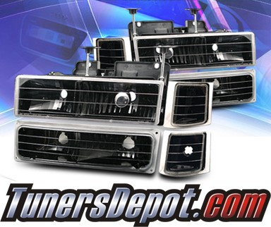 KS® Crystal Headlights +Corner +Parking Light Set (Black) - 94-99 Chevy Tahoe Full Size