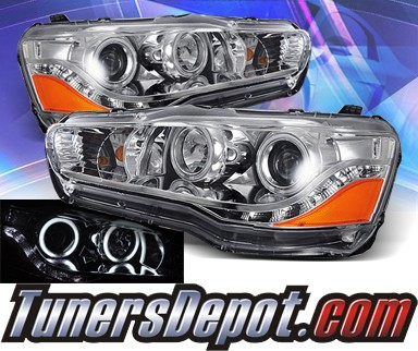 KS® DRL LED CCFL Halo Projector Headlights - 08-13 Mitsubishi Lancer Evolution EVO X (w/o Stock HID)
