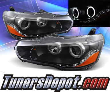 KS® DRL LED CCFL Halo Projector Headlights (Black) - 08-13 Mitsubishi Lancer Evolution EVO X (w/o Stock HID)