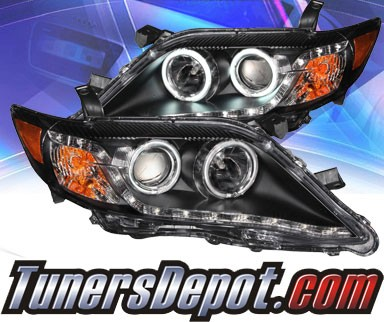 KS® DRL LED CCFL Halo Projector Headlights (Black) - 10-11 Toyota Camry