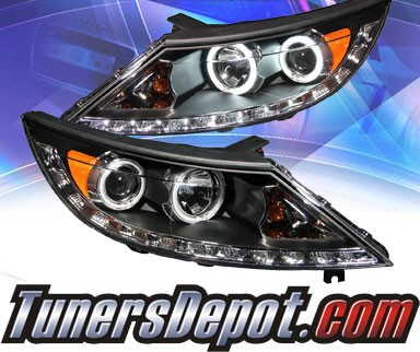 KS® DRL LED CCFL Halo Projector Headlights (Black) - 11-13 Kia Sportage