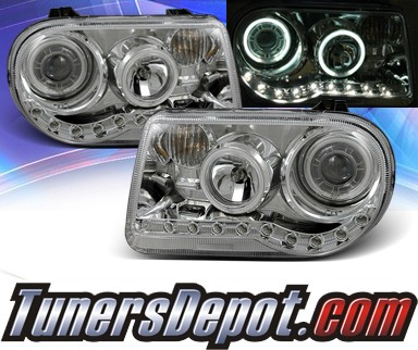 KS® DRL LED CCFL Halo Projector Headlights (Chrome) - 05-10 Chrysler 300C (w/o Stock HID)