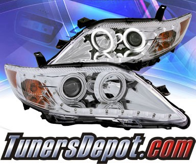 KS® DRL LED CCFL Halo Projector Headlights (Chrome) - 10-11 Toyota Camry